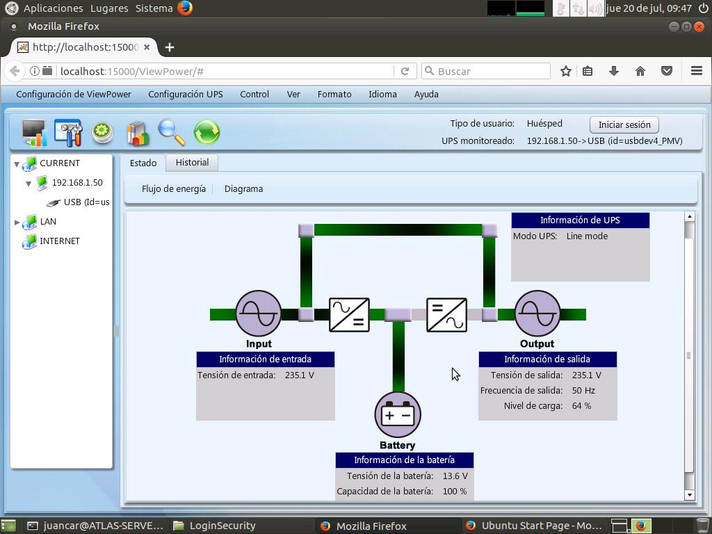 ViewPower, ejecutándose en Linux Ubuntu 16.04 LTS.