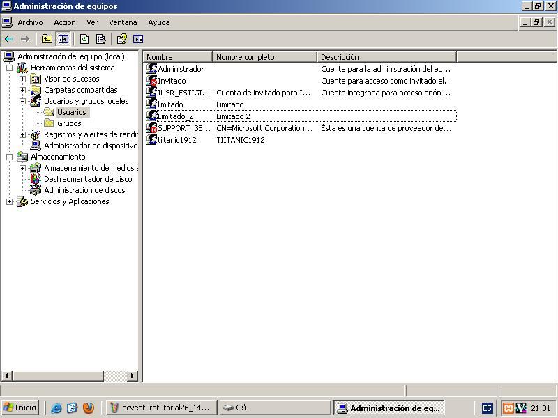 Ventana: Administrar/Usuarios y Grupos Locales/Usuarios Nuevo Agregado