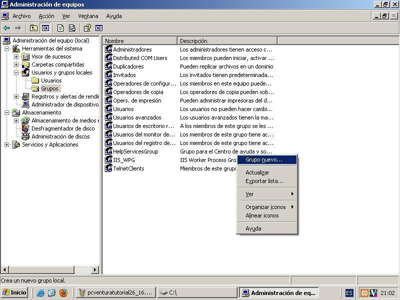 Ventana: Administrar/Usuarios y Grupos Locales/Grupos