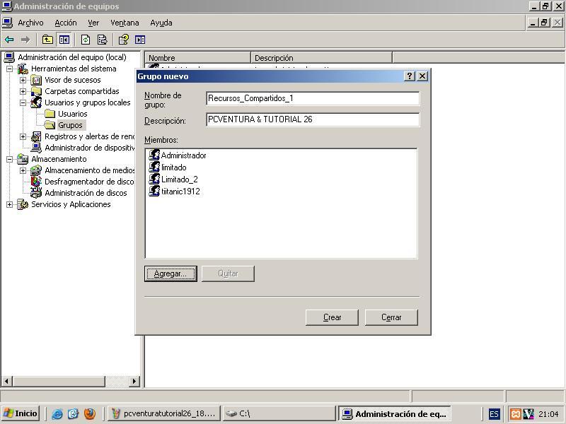Ventana: Administrar/Usuarios y Grupos Locales/Grupos Agregar Grupos