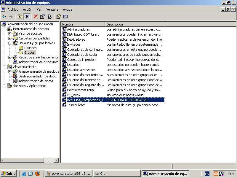 Ventana: Administrar/Usuarios y Grupos Locales/Grupos Nuevo Grupo Agregado