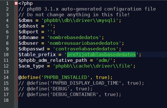 config.php de ejemplo de phpbb.