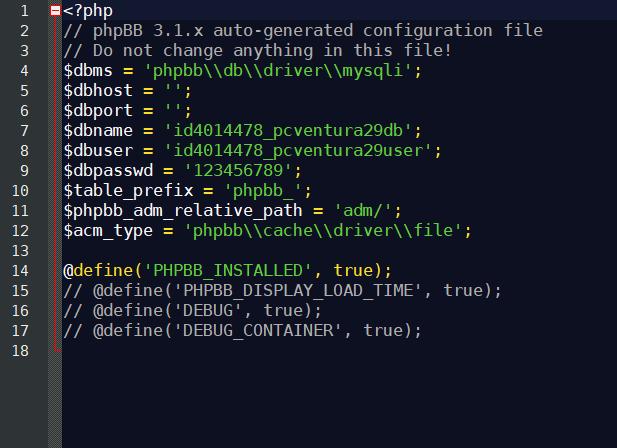 Modificacion del Config.php de phpBB para que consiga conectar con la base de datos.