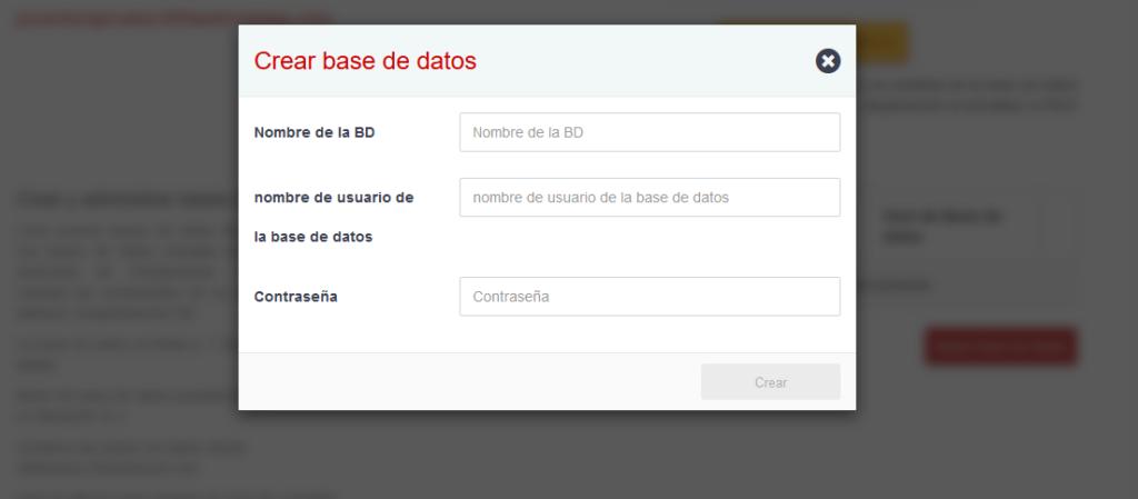 Formulario de creación de base de datos de 000WebHost