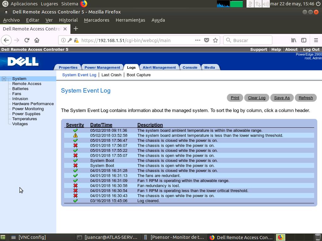 Web de DRAC5, en el apartado Logs